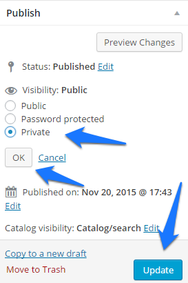 Change the visibility to private