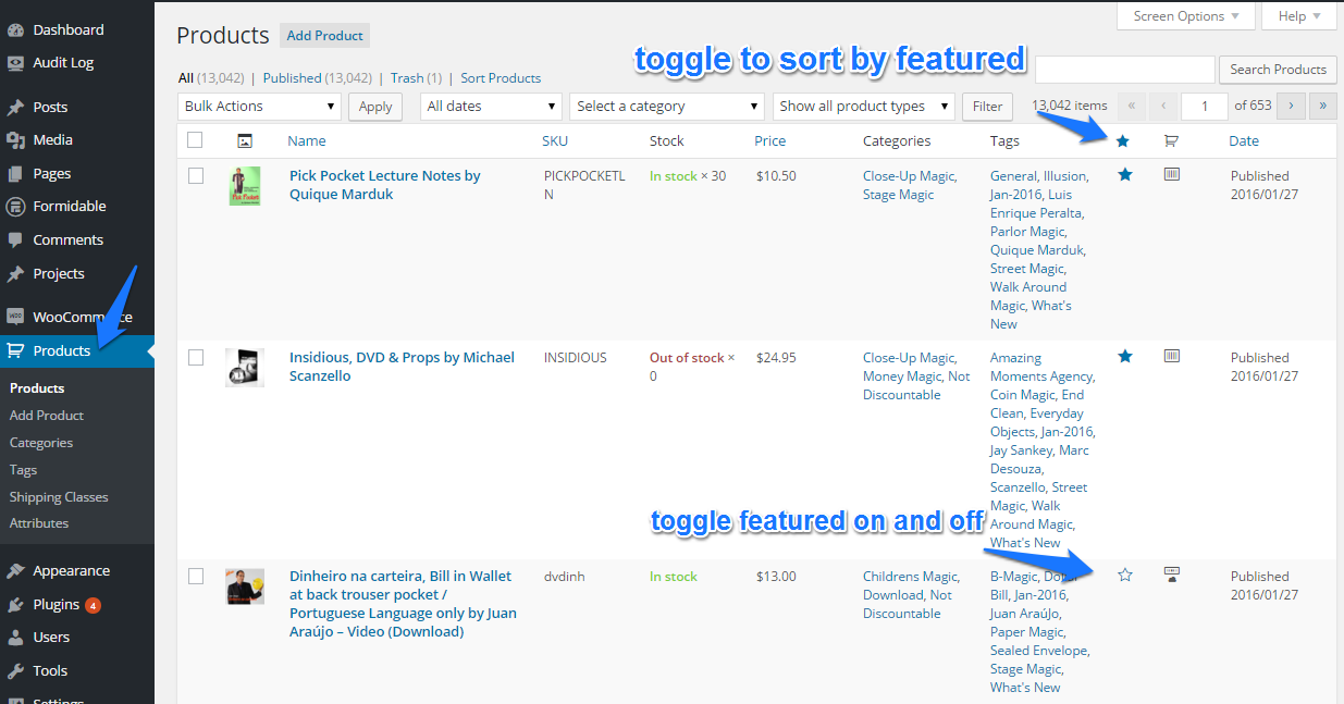 Toggle star for featured product