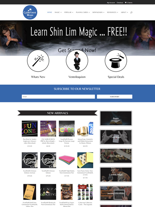 New website built for magic dealers called Cybervent Magic
